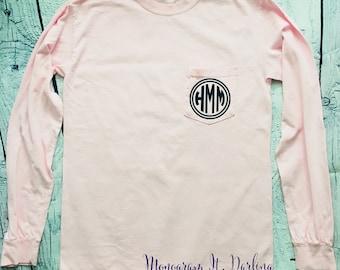 Monogrammed Comfort Colors Long Sleeve Pocket Tee | Long Sleeved monogrammed t shirt | Comfort Colors monogram shirt t shirt personalized