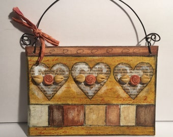 Mixed media art with polymer clay roses- encaustic and acrylic artwork