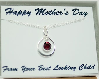 Mothers Day Birthstone Necklace with Funny Card Birthstone Jewelry Infinity Necklace January Birthday Necklace January July Birthday Gift