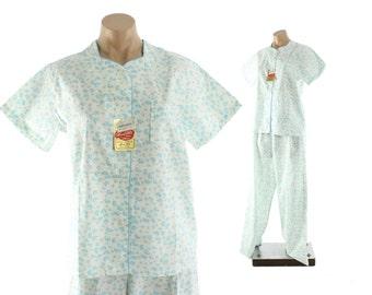 Vintage 50s NOS Pajamas White Floral Cotton PJs Pants Top 1950s Medium M Lingerie