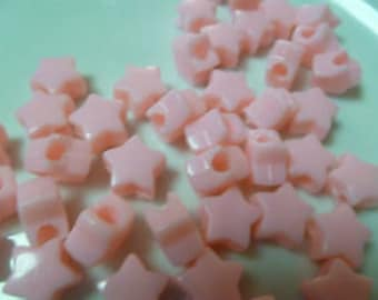 100 Star Shaped Pony Beads Shown in Pink Choose Your Color