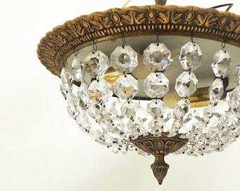 Vintage perlé cristal encastré montage au plafond en forme de Dôme clair forme pays Français lustre #1
