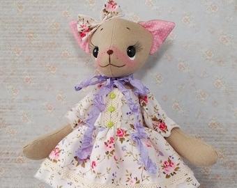 Cat doll Cat stuffed animal Cat plush Art rag doll Animal art doll Cloth doll handmade Ragdoll Rag doll handmade Art doll Cloth doll Toy