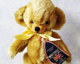 Lovely Merrythought cheeky bear - teddy bear - mohair bear - 1970's - 80's - mohair old bear - made in England