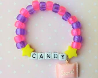 Pink & Purple Jelly Star Candy Sweet Singular Kandi Bracelet - Kawaii Lolita Decora Fairy Kei Pastel Goth Harajuku Fashion Cute JFashion