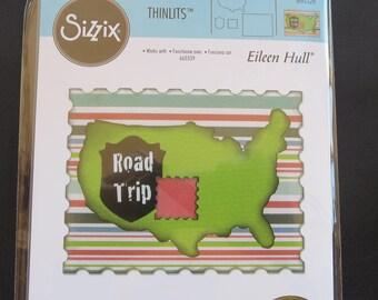 Sizzix Framelits Dies 4/Pkg - U.S. Map, Road Sign, Stamp & Postcard - 660328