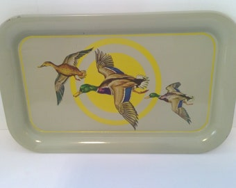 Set of Five Matching Metal Trays, Duck Serving Trays, Wildlife Home Decor, TV Trays