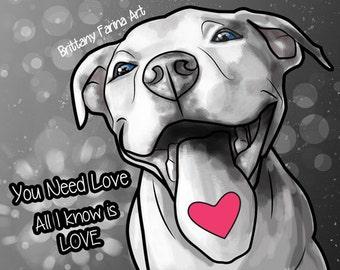 Pitbull Art, Pitbull Art Print, Dog Art,