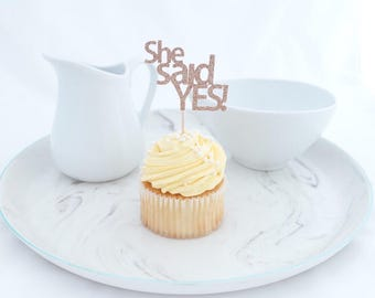 Engagement Party Cupcake Toppers (12 ct), She Said Yes, Engagement Party Decor, Bridal Shower Decorations, Bridal Shower Cupcake Toppers