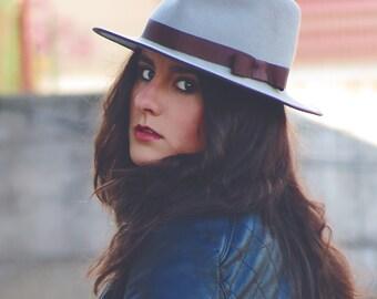 Woman gray fedora hat - Gray felt hat - Winter woman hat - Woman gray hat - Gray felt hat