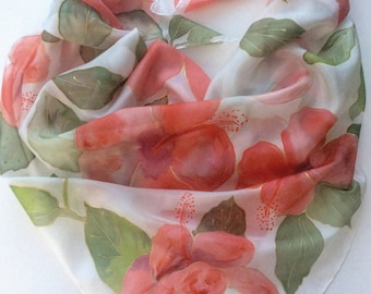 Red Hibiscus hand painted silk scarf. Hibiscus silk scarf. Floral silk square