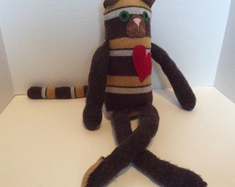 Brown and yellow striped repurposed sweater stuffed cat