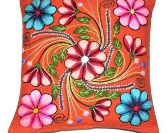 Pillow Cover Embrodery Floral Design from Ayacucho Peru - Handmade with Orange  Loom