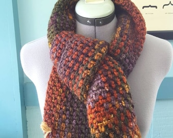 Chunky Fall Colors Wool Blend Scarf