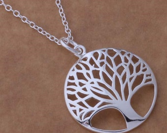 Silver Tree of Life with 18 in Necklace