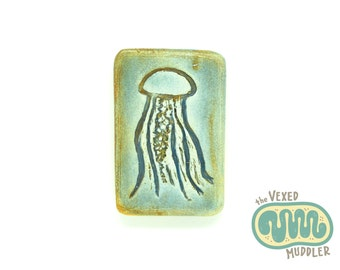 Green jellyfish magnet, ceramic sea nettle jellyfish, neodymium rare earth magnet, marine biology gift