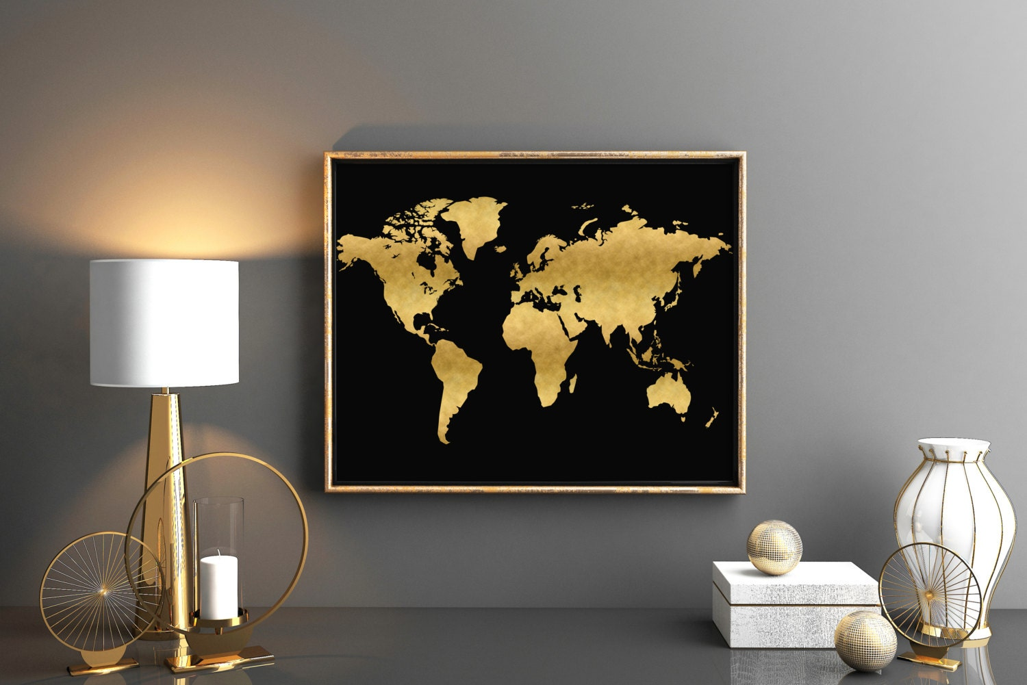 Printable world map large gold world map 36x24 printable zoom gumiabroncs Gallery