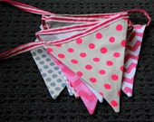 Belle's Bows Pink and Grey fabric bunting. Baby girl nursery decor.Girls bedroom bunting.grey chevron,pink chevron,pink bunting. baby shower
