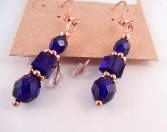 Czech glass crystal earrings Cobalt blue and copper