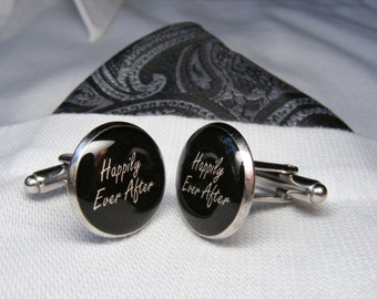 Happily Ever After Cufflinks - Wedding Cufflinks - Groom's Gift - Mens Accessories