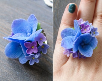 Romantic gift for wife anniversary present for mom Lilac flower ring for women Hydrangea ring Floral ring Statement ring adjustable