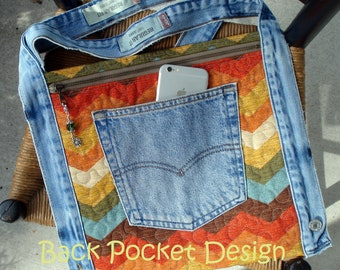 Quilted Waistband Pocket Hip Purse made with recycled denim and home decorator chevron fabric