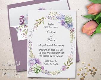 lavendar sage succulent wedding invitation set printable wedding invitations boho wedding purple floral wedding invites watercolor succulent