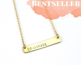 Feminist Brass Bar Necklace | Feminism Jewelry | Equal Rights | Women's Rights | The Future is Female | Gold Necklace | Girlfriend Gift