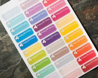 Happy Birthday Tag Stickers for Erin Condren Life Planner, Plum Paper Planner, Filofax, Kikki K, Calendar or Scrapbook EN-128