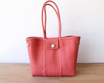 Pink Rose Woven Tote bag, Picnic Basket, Beach Bag, Getaway Bag, Picnic Bag, Weekend Bag, Travel Bag, Mexican Gift, Mexico Bag