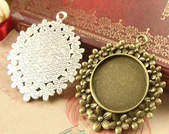 "20pcs 25 mm 1 inch 1"" Round Zinc Alloy Pendant Trays  Antique Style Pendant Blanks Bezel Setting,Circle pendant trays"