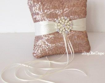 Sequin Ring Bearer Pillow, Champagne Sequin Wedding Ring Pillow, Ring Cushion, Wedding Pillow, Gold Sequins Wedding Decor, Custom