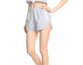 reddy for summer top and shorts striped  combination set