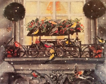 Full house - Winter card, Holiday greeting card, snowflakes, birdhouse, window, light, birds