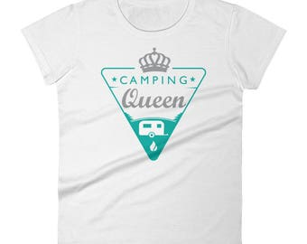 Camping Queen DTG Printed Shirt. Women's short sleeve t-shirt available on various colors
