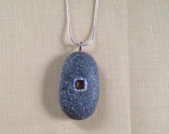 Beach stone necklace/pendant with citrine.