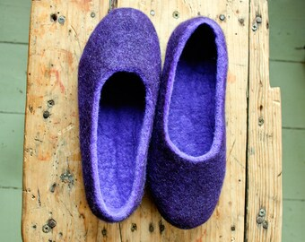 Ultraviolet felted slippers Non slip slippers for women Hygge gift idea, Housewarming gift, Ultra violet shoes, Felted wool shoes for mom