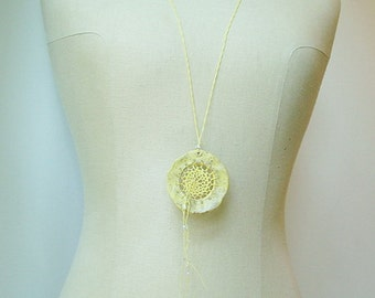 Yellow Necklace, Pottery & Fiber Necklace, Statement Jewelry, Butter Yellow, As Seen in Belle Armoire Jewelry Magazine DM2