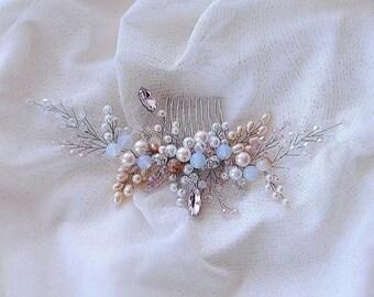 Moonstone Hair vine-Crystal Weddind Hair Comb- Bridal Hair Vine -Wedding hair piece-Bridal headpiece-Wedding hair vine-Rose gold Hair Vine