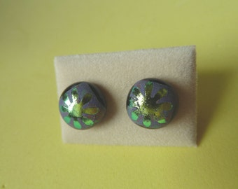 Dichroic Glass Stud Earrings Surgical Steel Hypoallergenic gold Flower Handmade Hand Painted
