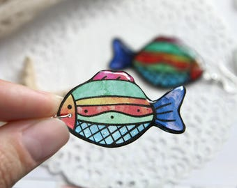 Colorful summer earrings Fish jewelry Beach earrings for girlfriend gift for teenage girl gifts Beach party favor gift Girl birthday gift