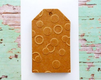 Kraft Brown Tags {10} | Embossed Gift Tags | Confetti Tags | Embossed Confetti Tags | Embossed Kraft Tags | Confetti Dot Tags