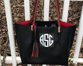 Monogram Bag with tassel ~ Monogram Purse ~  preppy monogram purse ~ medium size~Shoulder bag