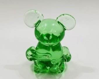 Vintage Green Glass Mouse Paperweight
