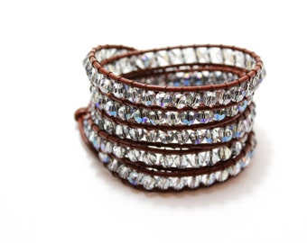 Wrap Bracelet; Leather Wrap Bracelet, Crystal Blue Wrap Bracelet, Boho Bracelet, Beaded Wrap Bracelet, Leather Bracelet, Gemstone Bracelet