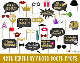 40th Birthday Gold photo booth props. Printable. DIY Forty birthday party props Golden. Instant download. PDF Digital file. High resolution