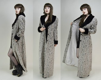 90s Goth Gothic Grey Glitter Black Faux Fur Collar Maxi Length Trench Coat Duster Jacket S / M