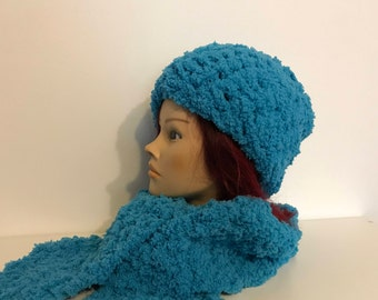 Blue hood with scarf
