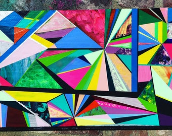 One of a kind original art work//acrylic painting on wood//geometric contemporary art