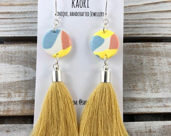 Statement tassel earrings with handcrafted polymer clay- yellow, pink, blue and white with Sterling Silver hooks